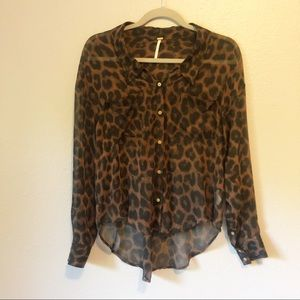 Free People High Low Button Up Cheetah Blouse, XS